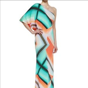 Trina Turk Sausalito One Shoulder Maxi Multi Sz 6